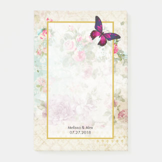 Post-it® Papillon rose et épouser vintage minable de roses