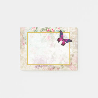 Post-it® Papillon rose et roses vintages minables