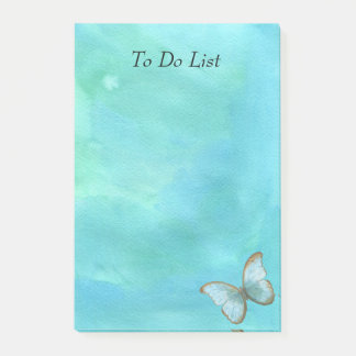 Post-it® Papillon sur l'aquarelle bleue