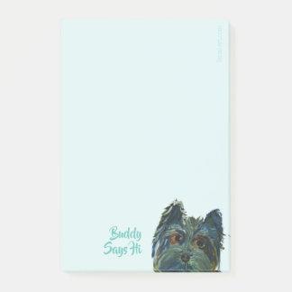 Post-it® Peinture d'art de bruit de Yorkie dans le bleu et