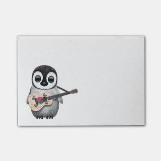 Post-it® Pingouin jouant la guitare sud-coréenne de drapeau
