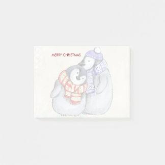 Post-it® Pingouins mignons de Joyeux Noël dans des écharpes