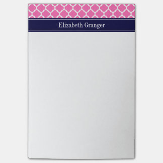 Post-it® Pink2 monogramme blanc chaud de nom de bleu marine
