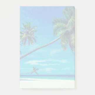 Post-it® Plage blanche de Sandy avec les paumes tropicales