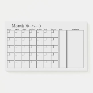 Post-it® Planificateur mensuel de calendrier gris clair