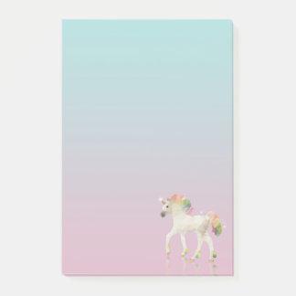 Post-it® Polygone coloré de licorne d'arc-en-ciel - notes