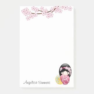 Post-it® Poupée de Kokeshi de ressort - fille de geisha
