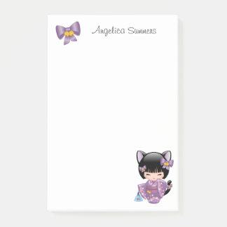 Post-it® Poupée de Neko Kokeshi - fille de geisha