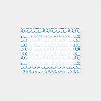 Post-it® Profil onduleux d'aquarelle bleue peinte à la main