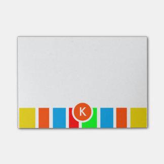 Post-it® Rayures colorées de monogramme