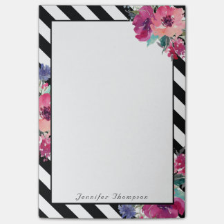 Post-it® Rayures et motif floral avec votre nom