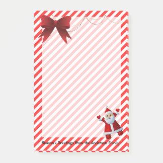 Post-it® Rayures rouges mignonnes de Joyeux Noël d'arc du