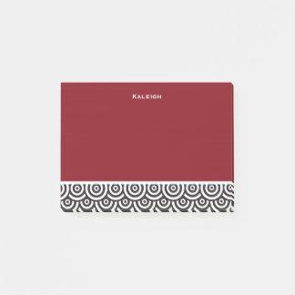 Post-it® Rétro noir et blanc rouge personnalisé