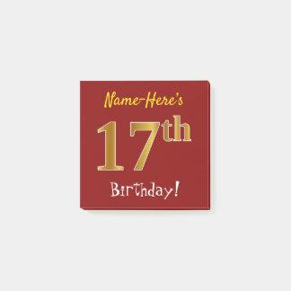 Post-it® Rouge, anniversaire d'or de Faux 17ème, avec le