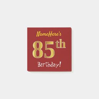 Post-it® Rouge, anniversaire d'or de Faux 85th, avec le nom