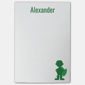 Post-it® Silhouette verte personnalisée par super héros de
