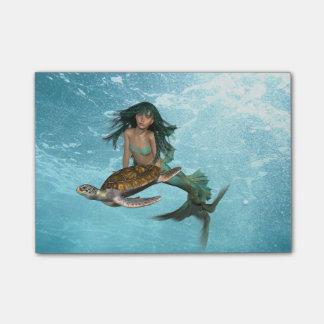 Post-it® Sirène avec la tortue de mer