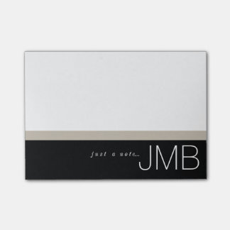 Post-it® Tan blanc et rayure noire juste un monogramme de