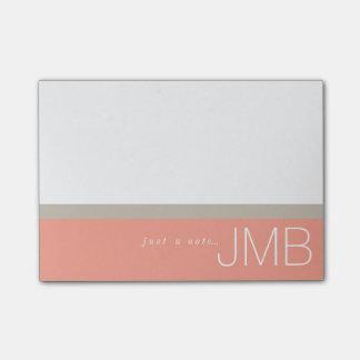 Post-it® Tan blanc et rayure rose juste un monogramme de
