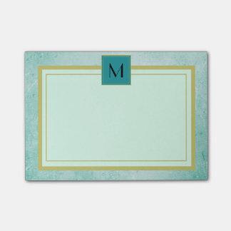 Post-it® Texture vintage verte en bon état de monogramme