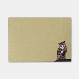Post-it® Tronçon d'arbre majestueux de hibou de Brown