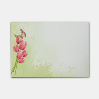 Post-it® Tulipes et papillon roses - protection collante