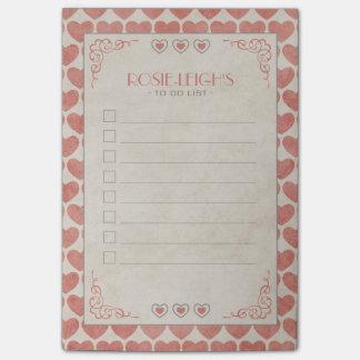 Post-it® Valentine vintage rouge et crème pâle pour faire