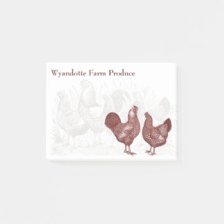 Post-it® Wyandottes Vintage Red Chickens Country Farm