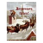 Postales de cartes de traîneau et de renne d'avec carte postale