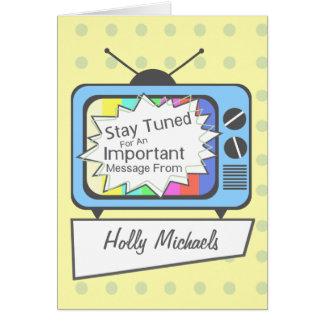 ..... Poste TV bleu accordé rétro par séjour Cartes De Vœux
