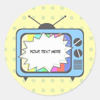 Poste TV de rétro bleu Sticker Rond