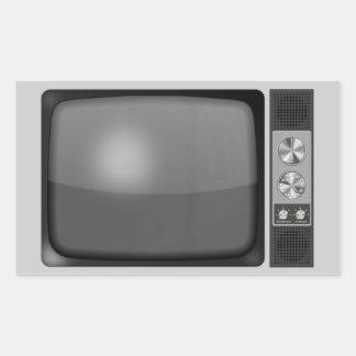 Poste TV de rétro cru Autocollants En Rectangle