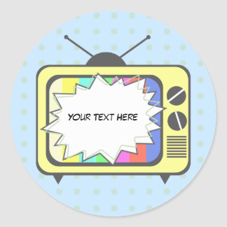 Poste TV de rétro jaune Sticker Rond