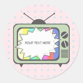 Poste TV de rétro vert Sticker Rond
