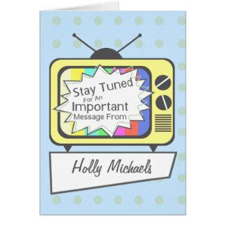 ..... Poste TV jaune accordé rétro par séjour Cartes De Vœux