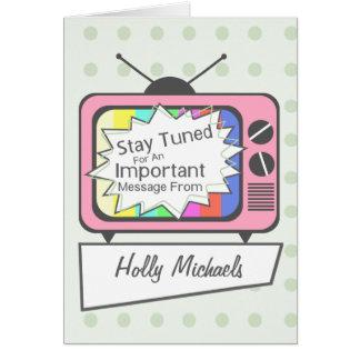 ..... Poste TV rose accordé rétro par séjour Cartes De Vœux