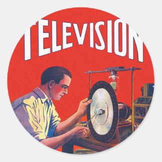 Poste TV tôt de TelevisionTechnology de kitsch Sticker Rond
