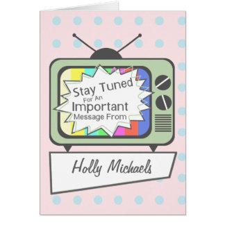 ..... Poste TV vert accordé rétro par séjour Cartes De Vœux