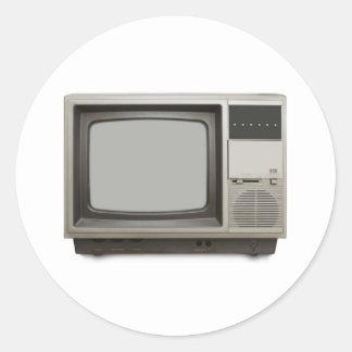 poste TV vintage Sticker Rond