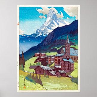 Poster マッターホルン, Matterhorn, Hiroshi Yoshida, gravure sur