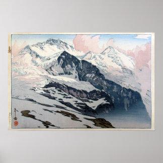 Poster ユングフラウ, Jungfrau, Hiroshi Yoshida, gravure sur