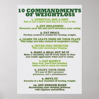 Poster 10 commandements de la perte de poids -