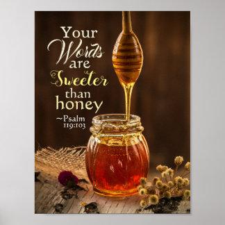 Poster 119:103 de psaume vos mots sont plus doux que le