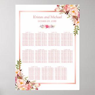 Poster 11 tables épousant l'or rose du diagramme |