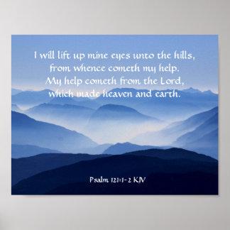 Poster 121:1 de psaume - 2 mon cometh d'aide du SEIGNEUR