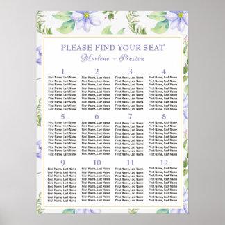 Poster 12 Tableaux floraux pourpres épousant le diagramme