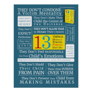 Poster 13 parents mentalement forts de choses ne font pas