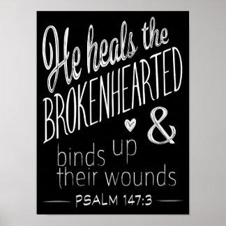 Poster 147:3 de psaume il guérit le navré de douleur