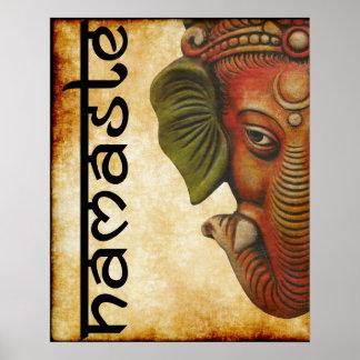 "Poster 16"""" conception indienne de namaste de ganesha de"