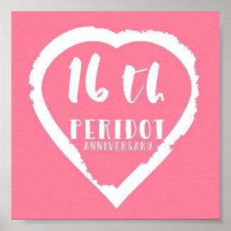 Poster 16ème Peridot traditionnel d'anniversaire de